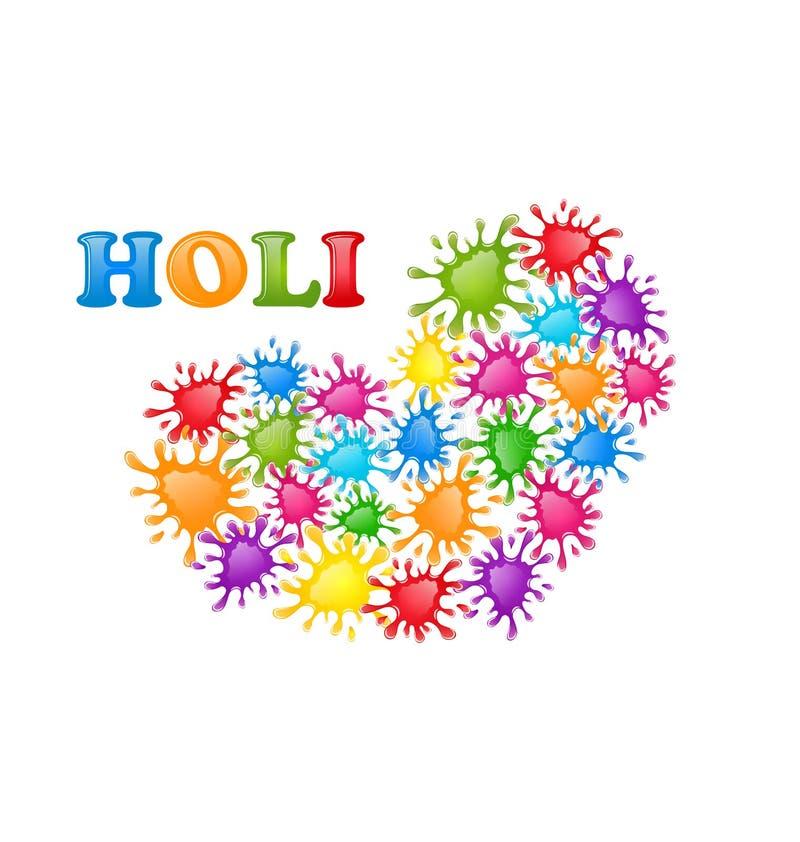 Färgrik målarfärg plaskar i formhjärta för den indiska festivalen Holi C vektor illustrationer