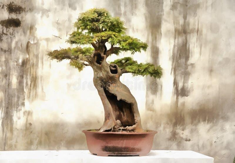 Färgrik målning av bonsaiträdet stock illustrationer