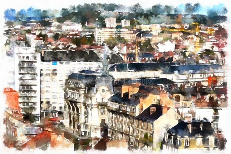 Färgrik målning av den flyg- sikten för cityscape stock illustrationer
