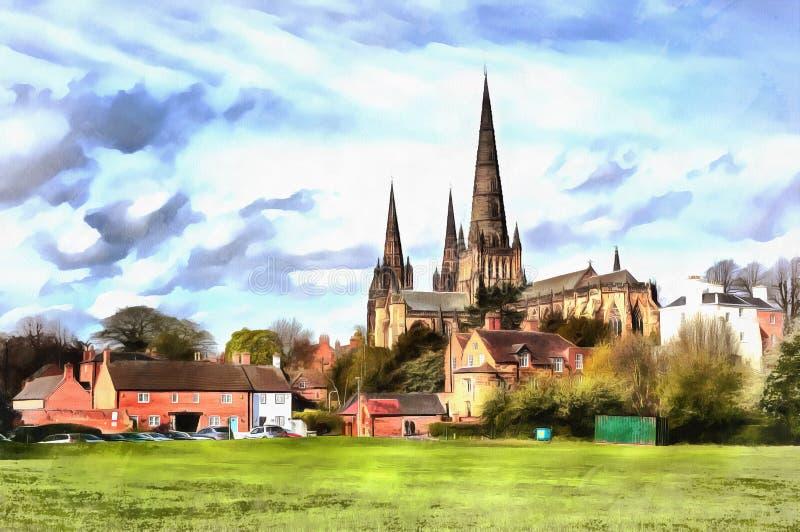 Färgrik målning av den Lichfield domkyrkan arkivbilder