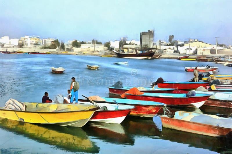 Färgrik målning av den traditionella Persiska viken sänder Bushehr Iran arkivbild