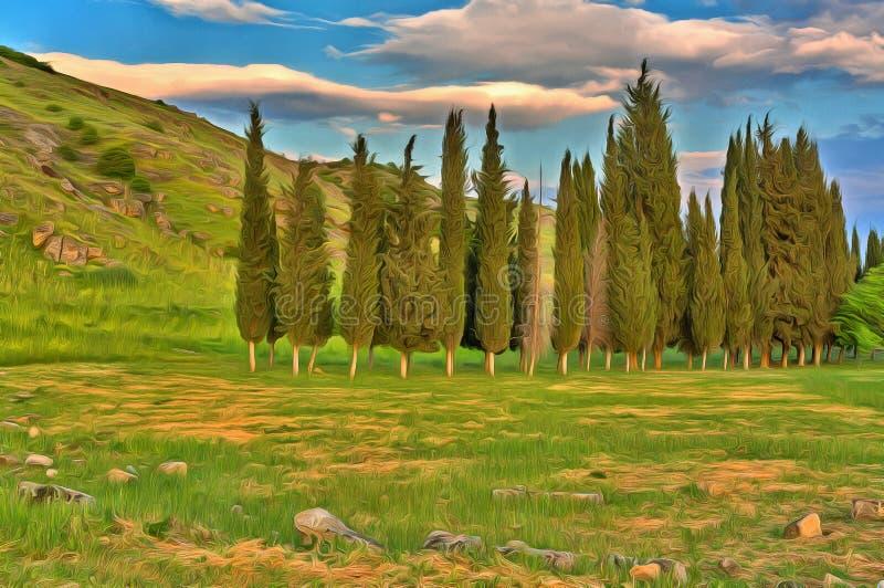 Färgrik målning av det härliga landskapet med cypressträd royaltyfri bild