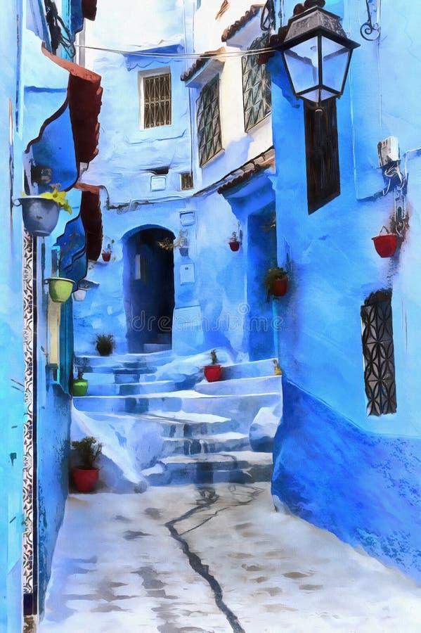 Färgrik målning av gator av den gamla Maghreb staden vektor illustrationer