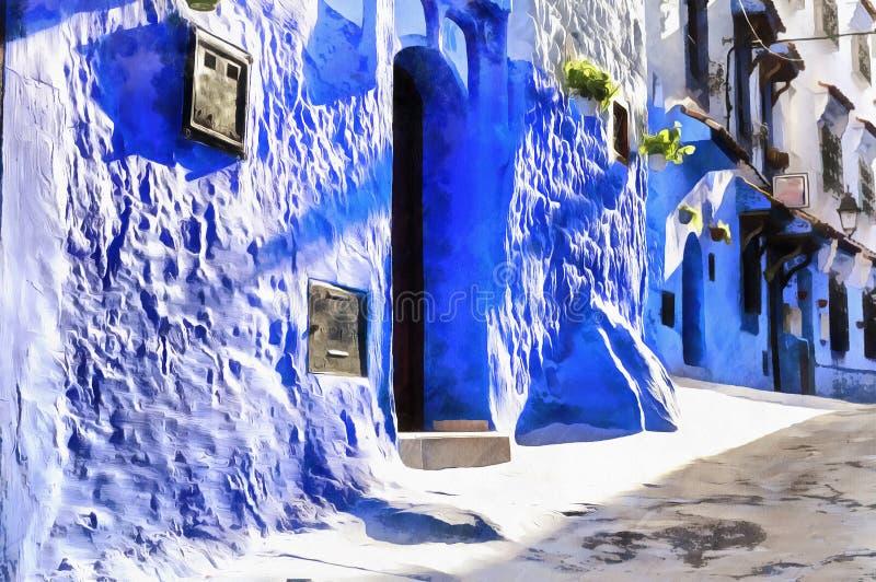 Färgrik målning av gator av den gamla Maghreb staden royaltyfri fotografi