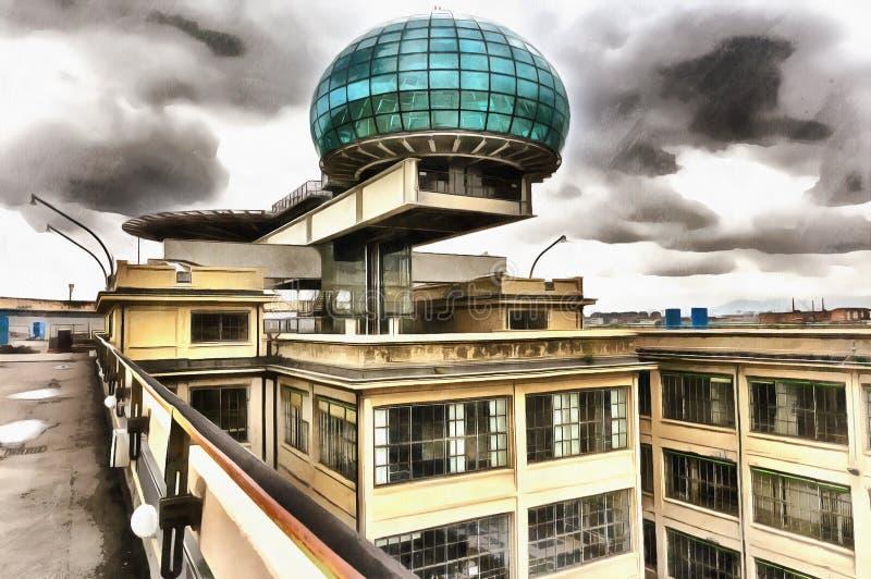 Färgrik målning av modern arkitekturbyggnad fotografering för bildbyråer
