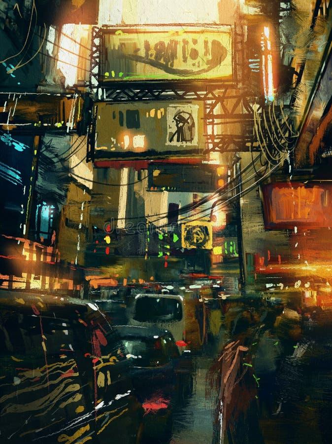 Färgrik målning av shoppinggatan i modern stad vektor illustrationer