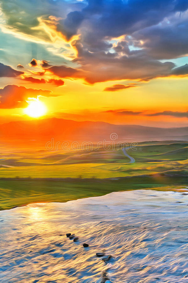Färgrik målning av solnedgången på dalen arkivfoto