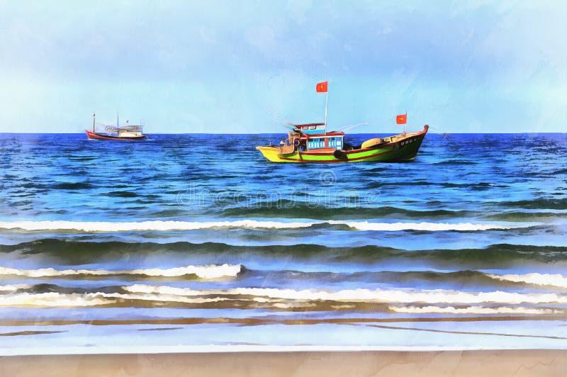 Färgrik målning för Seascape royaltyfria bilder