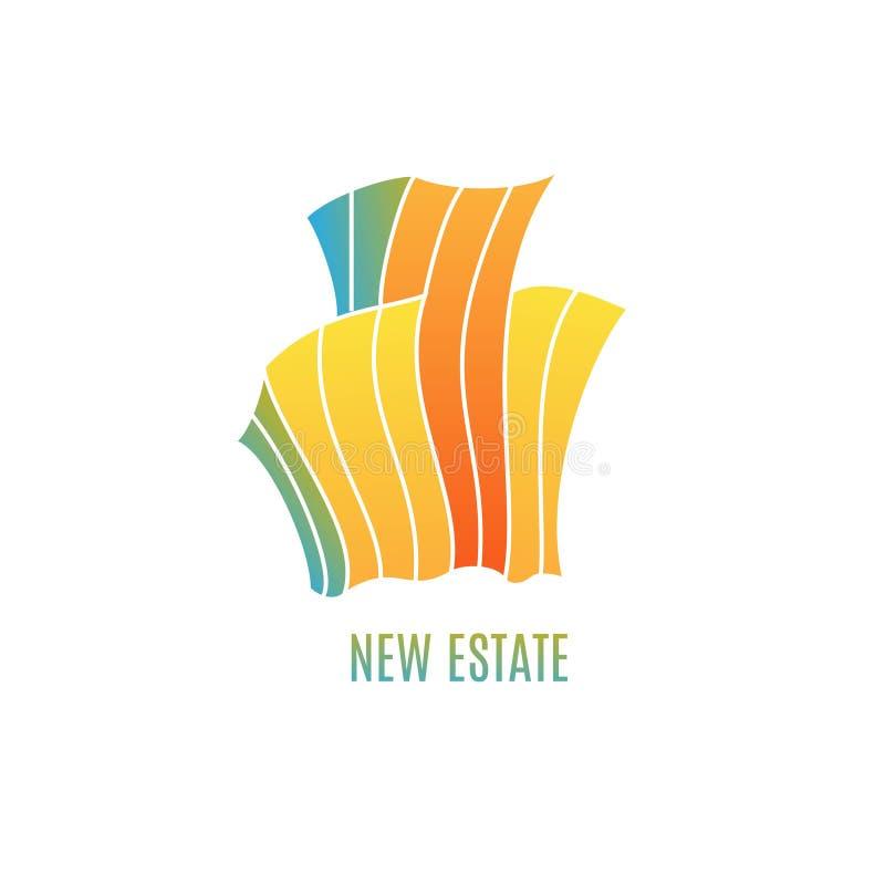 Färgrik mångfärgad fastighetlogodesign stock illustrationer
