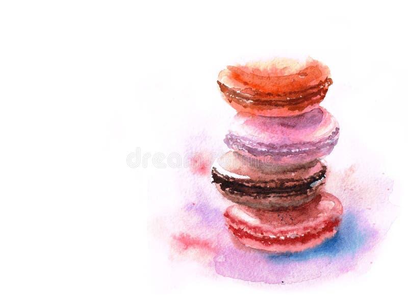 Färgrik macaronbunt för vattenfärg på vit bakgrund stock illustrationer