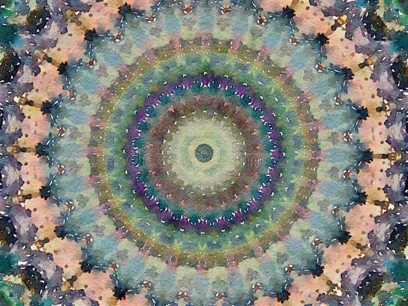 Färgrik magisk mångfärgad kalejdoskopdesignmehendi vektor illustrationer