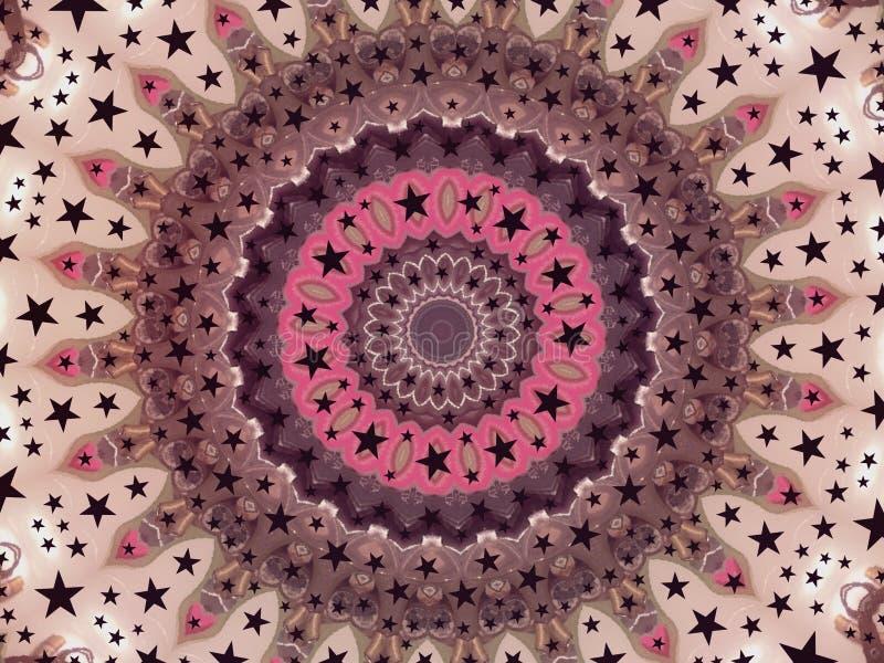 Färgrik magisk mångfärgad kalejdoskopdesignmehendi stock illustrationer