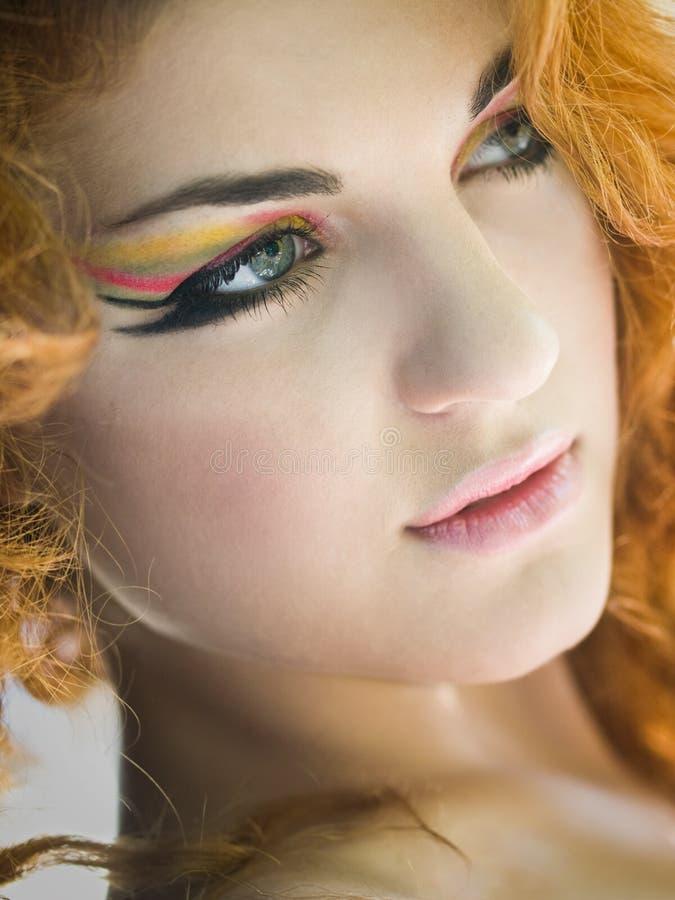 färgrik makeup royaltyfri foto