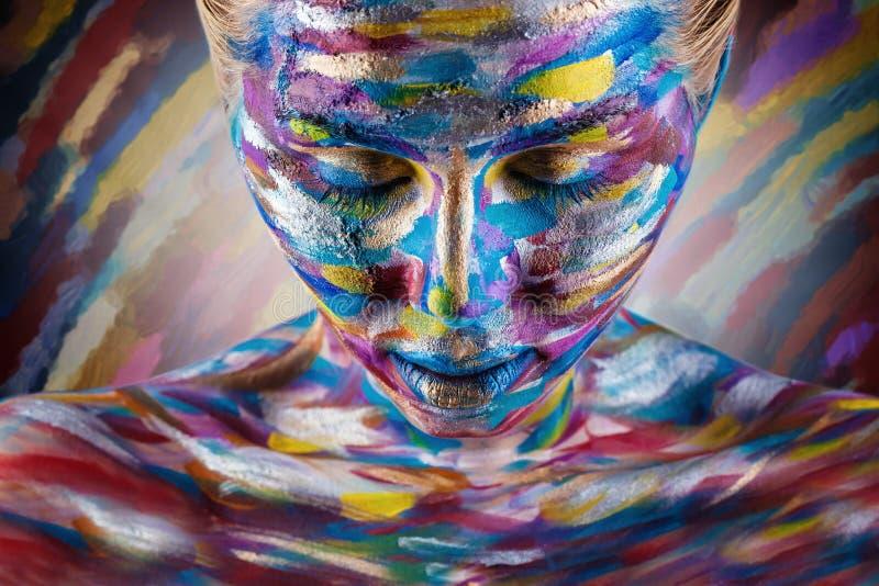 färgrik makeup arkivfoto