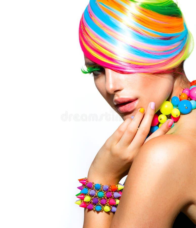 Färgrik makeup, hår och tillbehör arkivbild