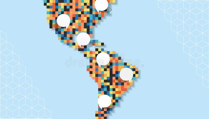 Färgrik mall för bubbla för Amerika PIXELöversikt tom vektor illustrationer