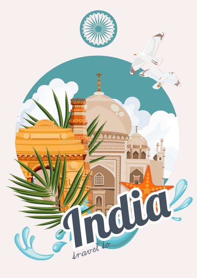 Färgrik mall för indiskt lopp med traditionella byggnader india för avståndsstil för illustration retro vektor för text stock illustrationer
