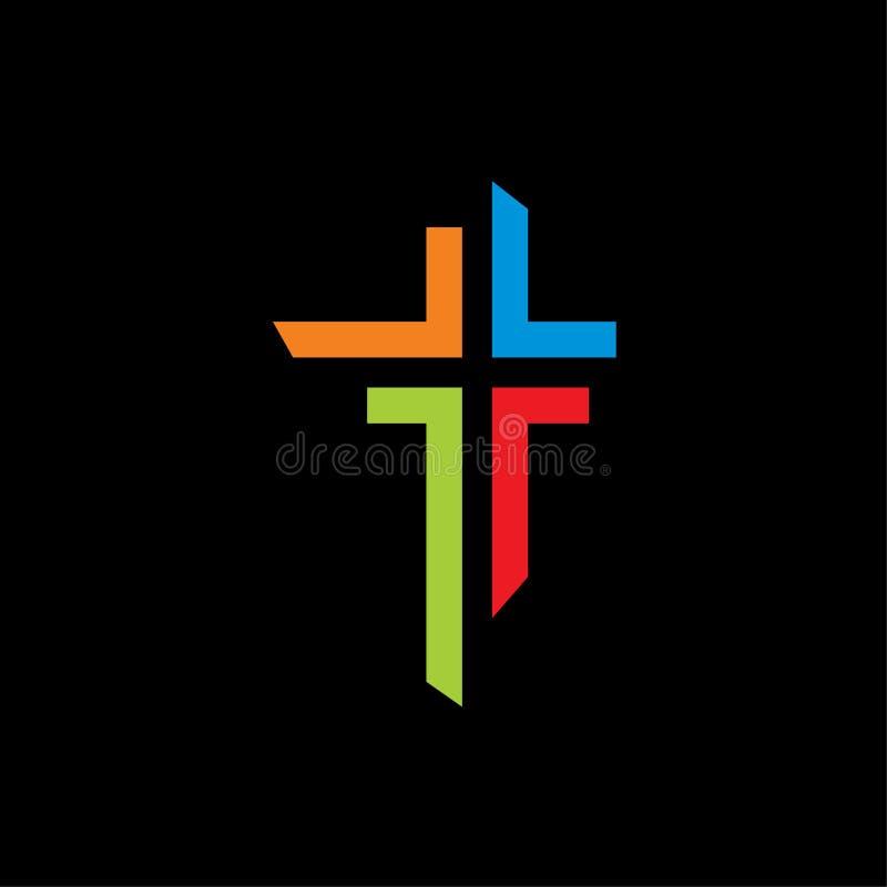 Färgrik mall för logo för kyrkasymbolssymbol royaltyfri illustrationer