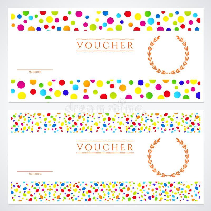 Färgrik mall för presentkort (kupong) royaltyfri illustrationer
