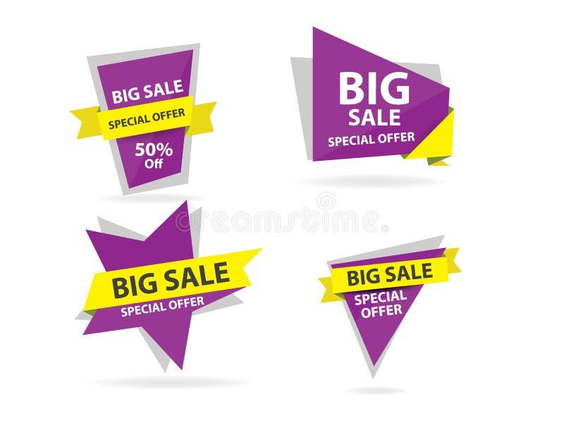 Färgrik mall för shoppingförsäljningsbaner, samling för rabattförsäljningsbaner stock illustrationer