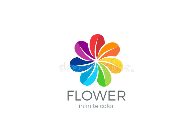 Färgrik mall för vektor för design för ögla för blommaabstrakt begrepplogo Laget blir partner med för gemenskaplogotypen för vänn stock illustrationer