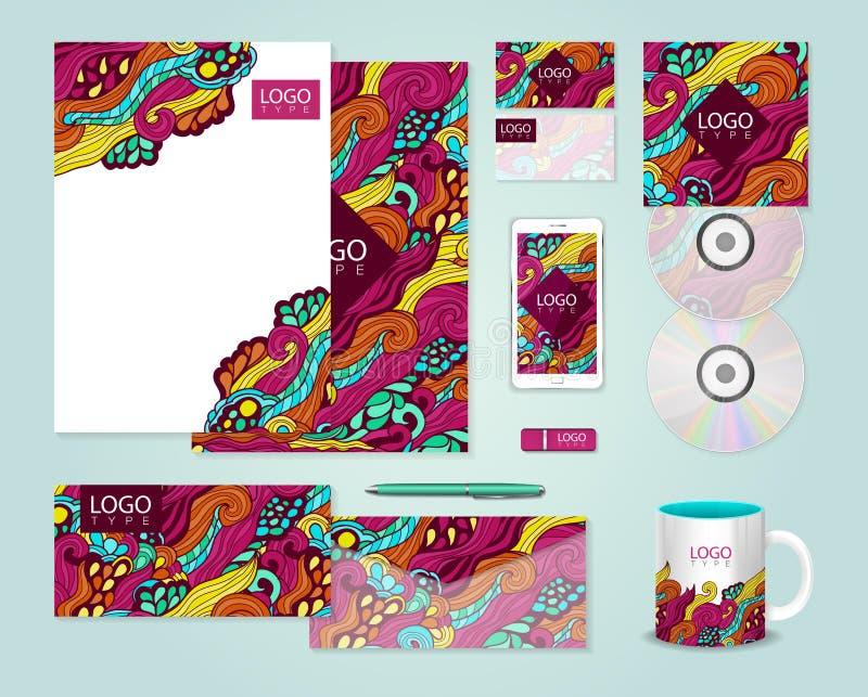 Färgrik malldesign för företags identitet vektor illustrationer