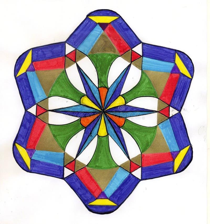 färgrik mandalafred royaltyfri illustrationer