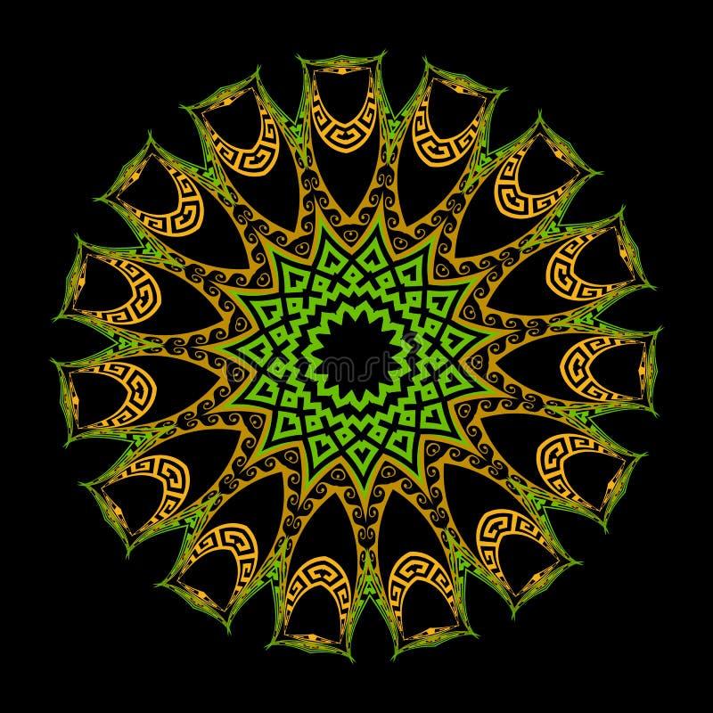 Färgrik mandalamodell för grekisk runda Grekiska nyckel- slingringar cirklar den blom- prydnaden med geometriska former, sicksack vektor illustrationer