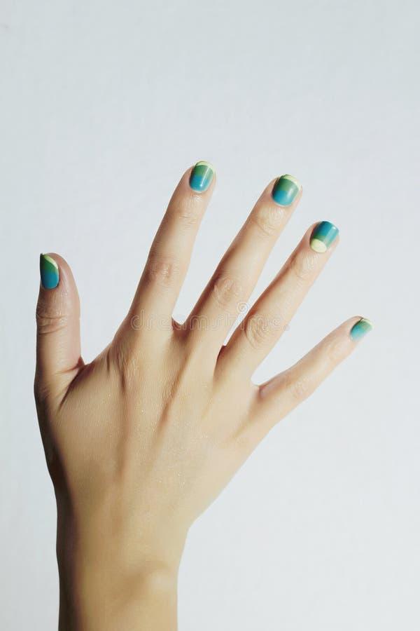 färgrik manicure Kvinnligt räcker kvinna för skönhetsalong schellackpolermedel Spika designen royaltyfria bilder