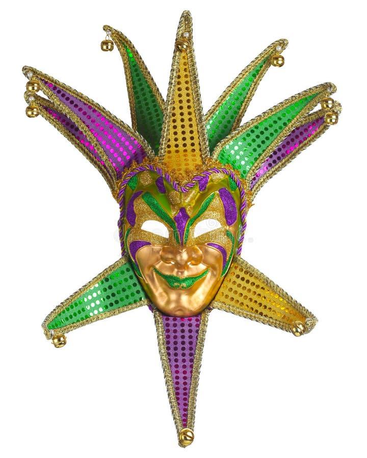 Färgrik Mardi Gras maskering på vit arkivbild