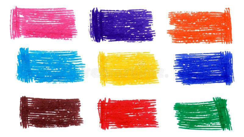Färgrik markörfläckuppsättning royaltyfri illustrationer