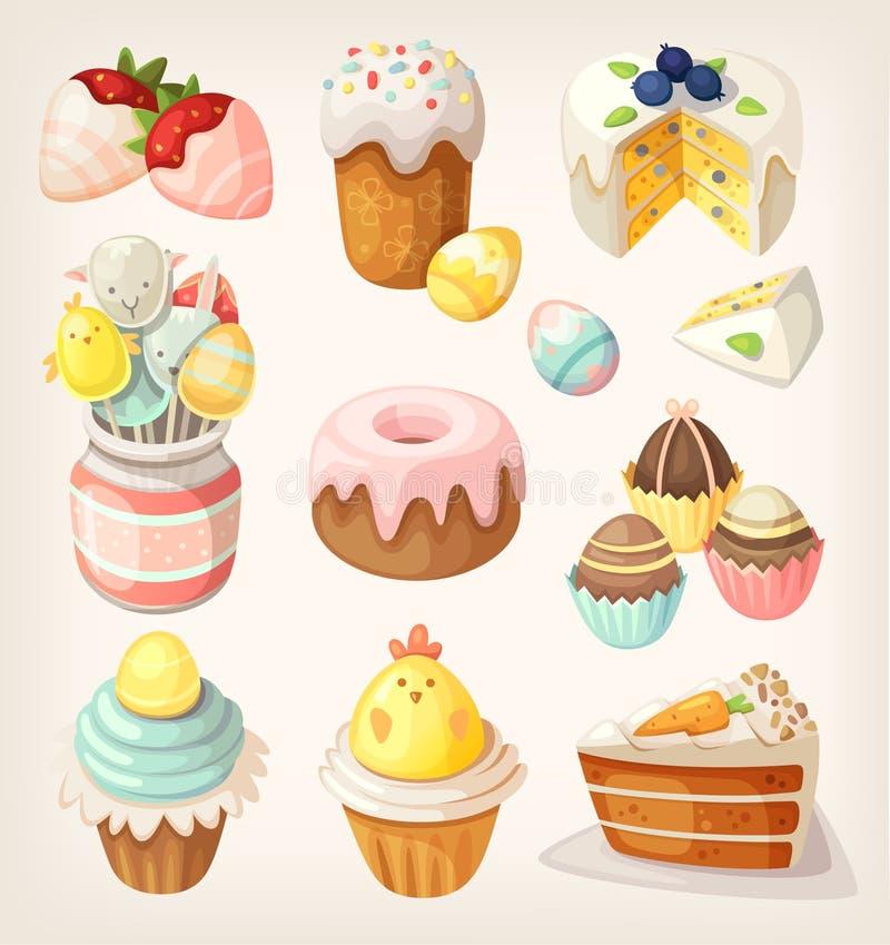 Färgrik mat för påskparti stock illustrationer