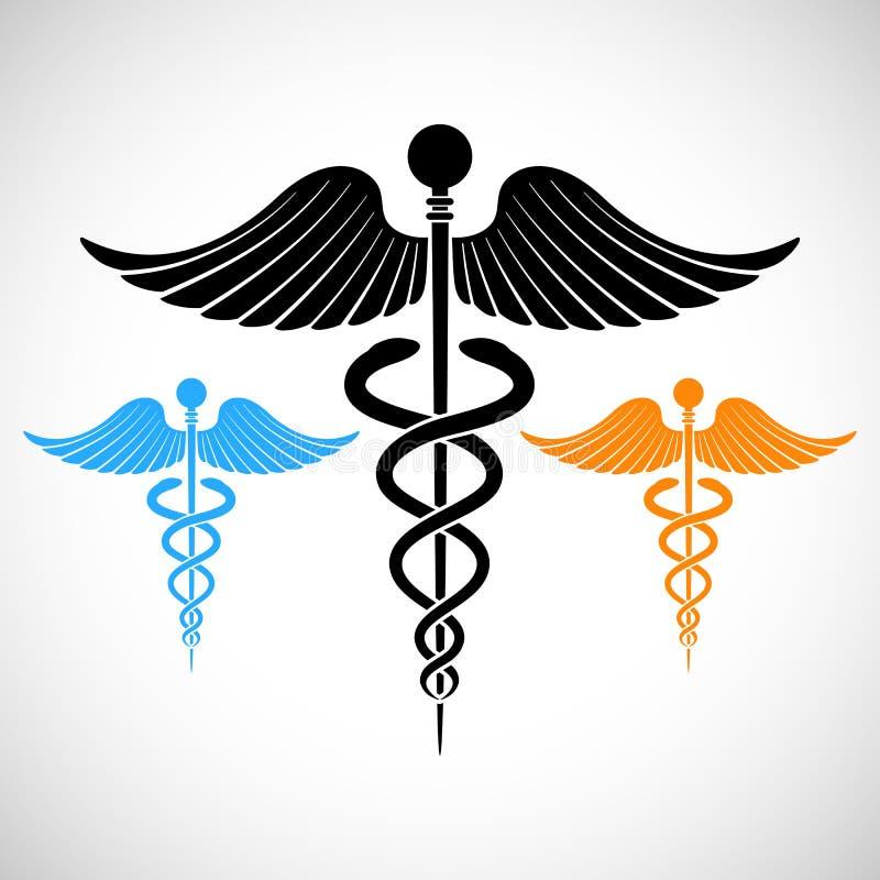 Färgrik medicinsk teckenCaduceus vektor illustrationer