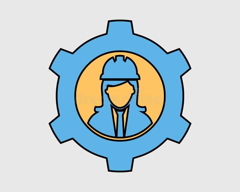 Färgrik mekanisk tekniker Icon royaltyfri illustrationer