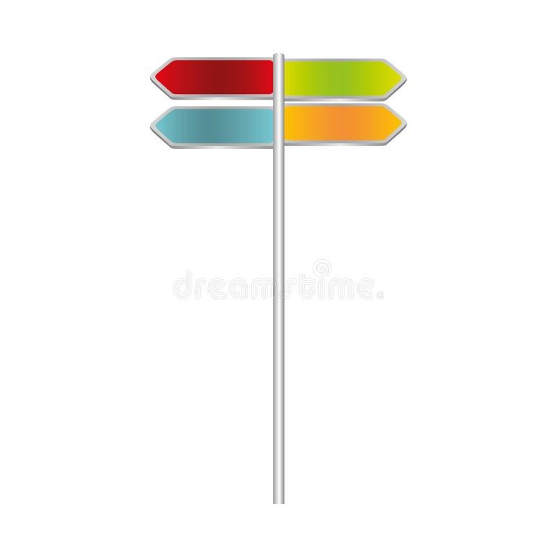 färgrik metallisk multidirectionvägmärkeuppsättning vektor illustrationer