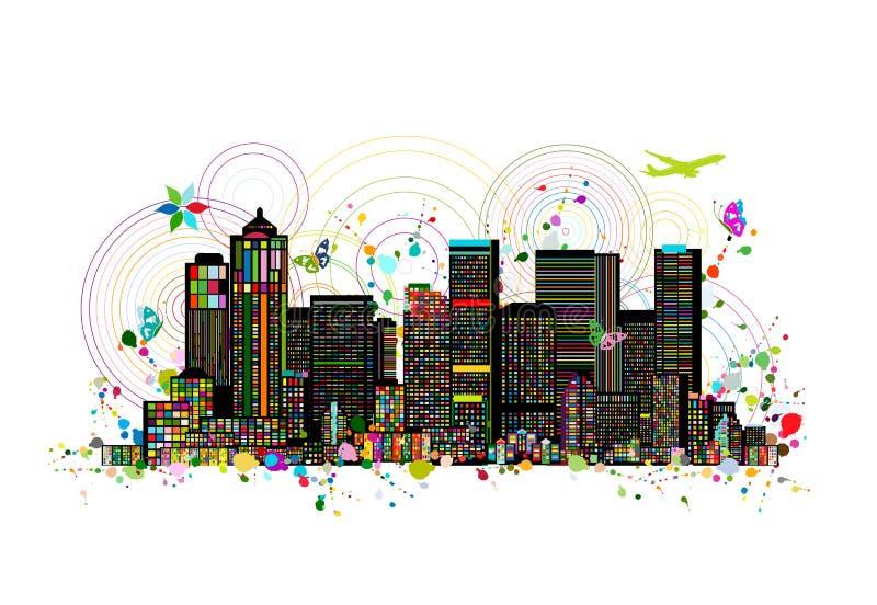 Färgrik metropolis, abstrakt bakgrund för din design stock illustrationer