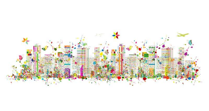 Färgrik metropolis, abstrakt bakgrund för din design vektor illustrationer