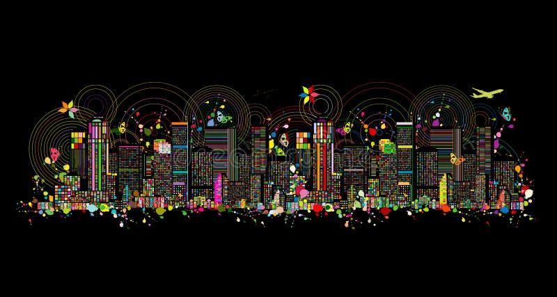 Färgrik metropolis, abstrakt bakgrund för din design royaltyfri illustrationer