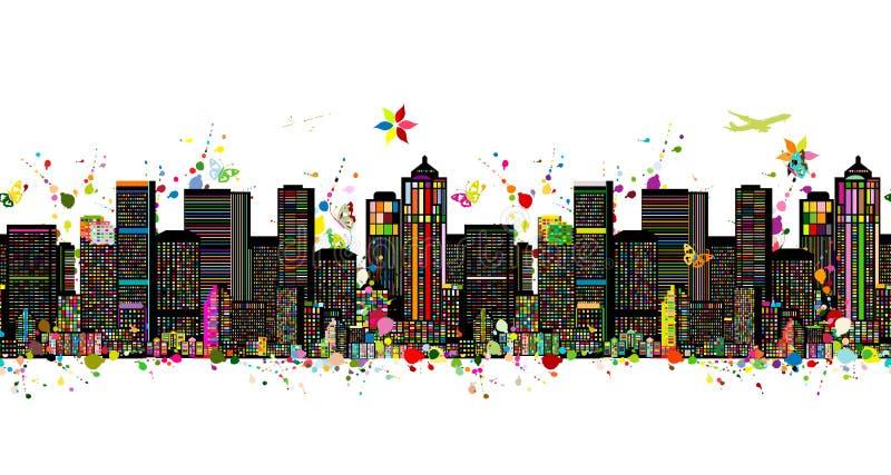 Färgrik metropolis, sömlös modell för din design royaltyfri illustrationer