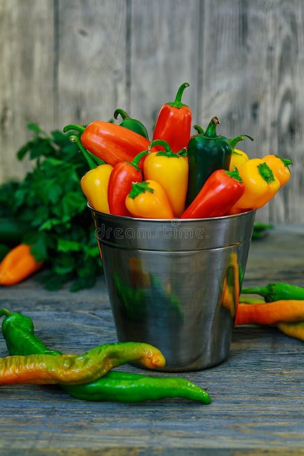 Färgrik mini- för tappningmetall för söta peppar bakgrund för trä för hink arkivbild