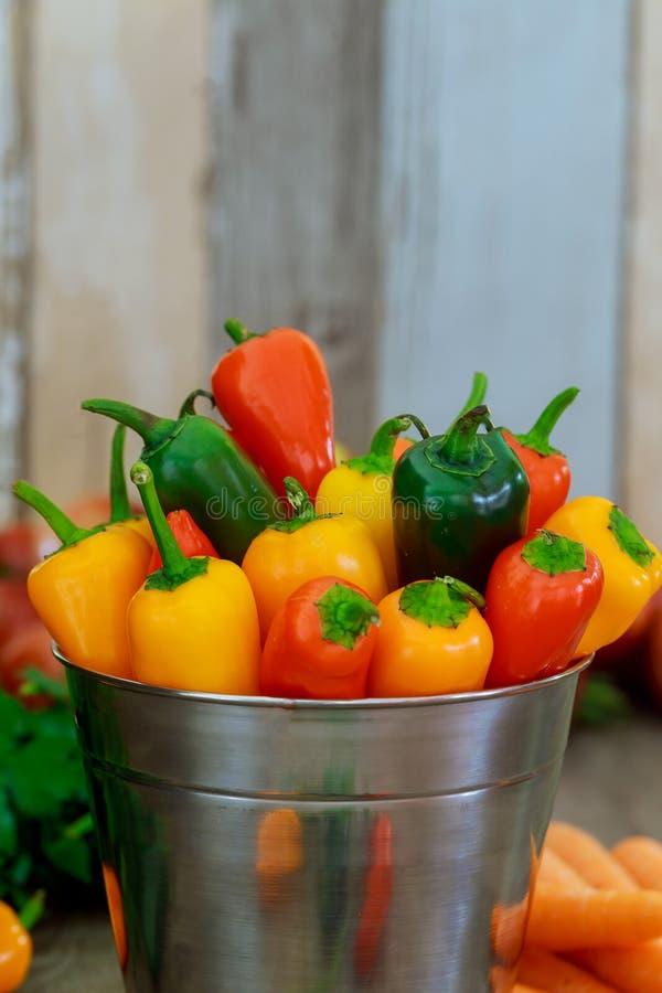 Färgrik mini- för tappningmetall för söta peppar bakgrund för trä för hink royaltyfri foto