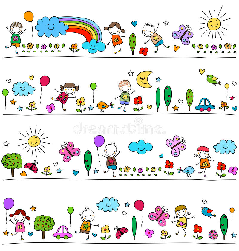 Färgrik modell för barn vektor illustrationer