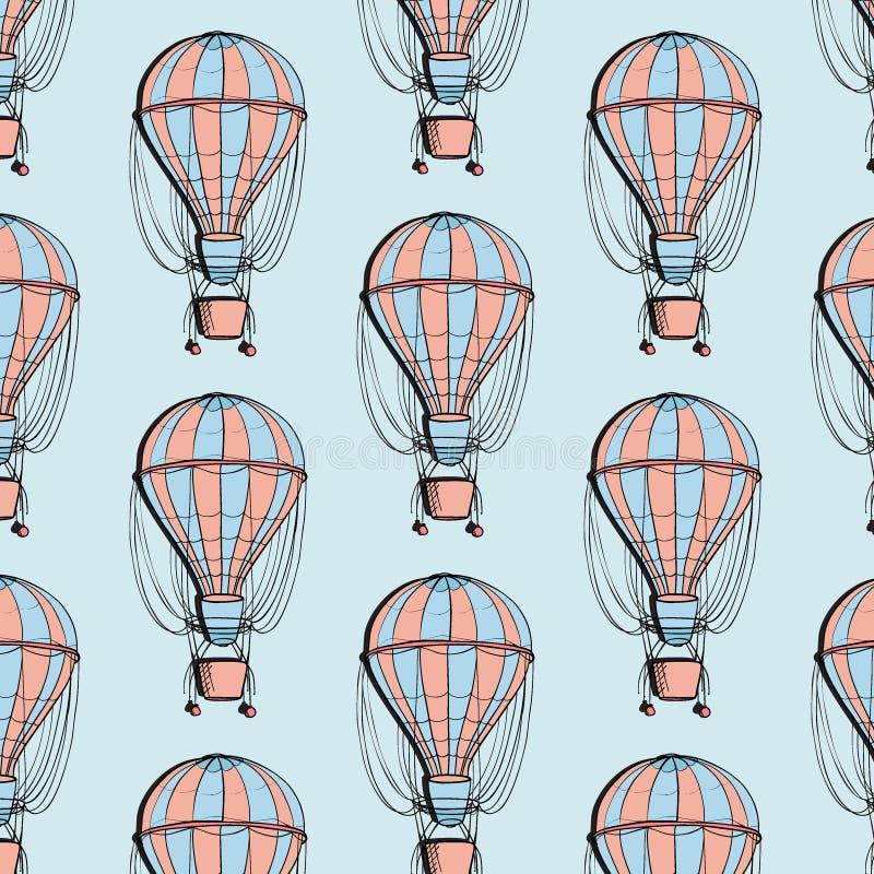 Färgrik modell för luftskeppballong Loppballon med korgsommartextur Affärsföretagturismgarnering stock illustrationer