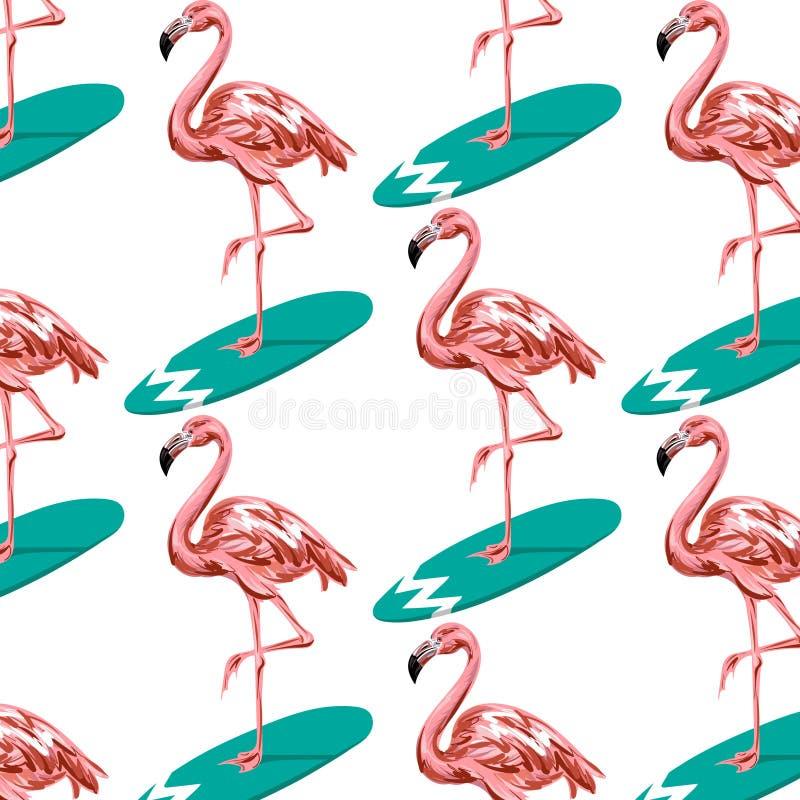 Färgrik modell för vektor med den hand drog illustrationen av flamingo på surfingbrädan vektor illustrationer