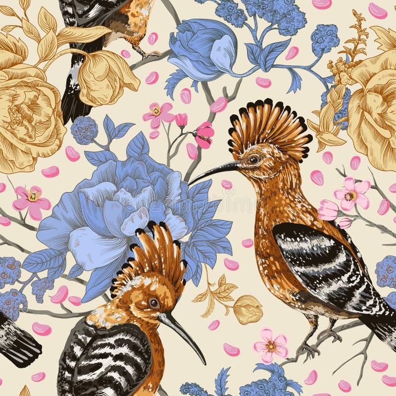 Färgrik modell för vektor med fåglar och blommor Hoopoes och blommor, retro stil, blom- bakgrund Vår sommarblomma stock illustrationer