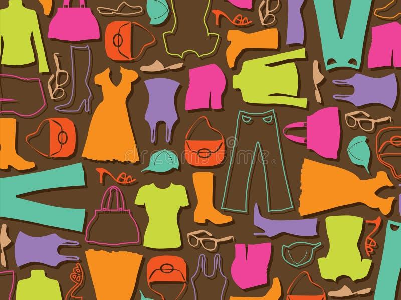 färgrik modemodell för bakgrund stock illustrationer