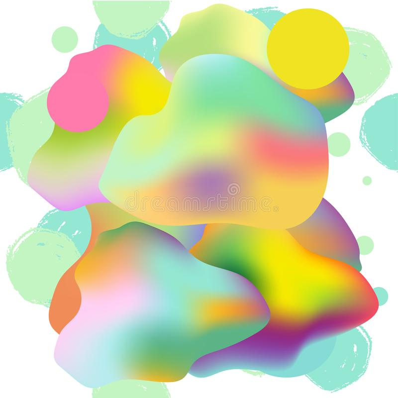 Färgrik modern abstrakt affisch, kort med lutningar, grunge, kulör vätska, organisk geometrisk form på vit bakgrund vektor illustrationer