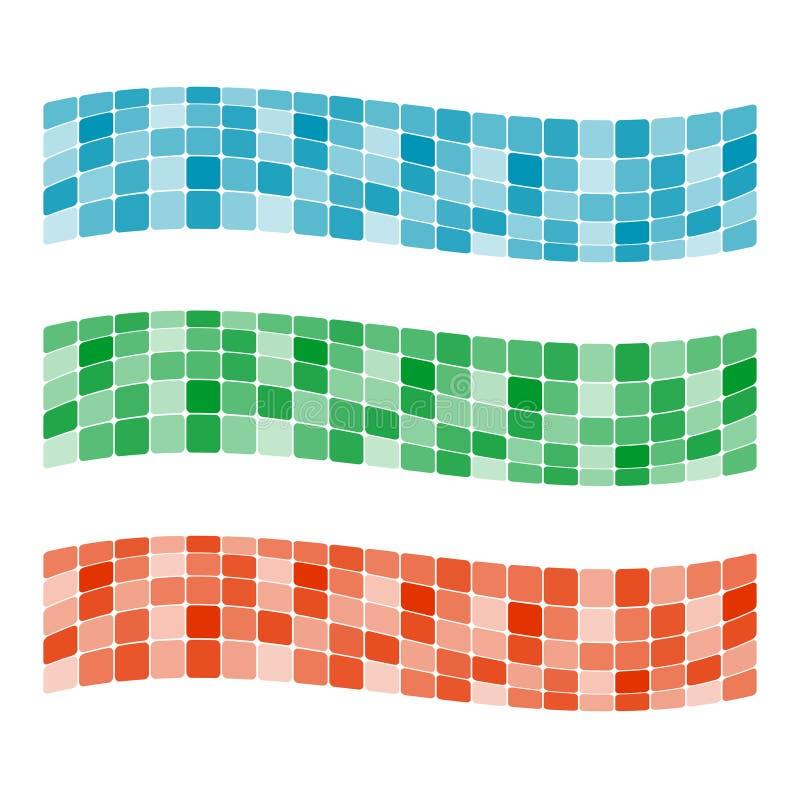 färgrik mosaik för baner stock illustrationer
