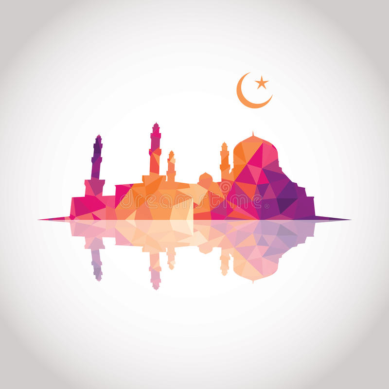 Färgrik mosaikdesign - moské royaltyfri illustrationer