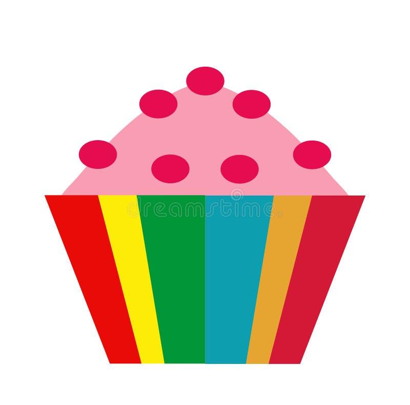 färgrik muffin symbolslägenhet, tecknad filmstil bakgrund vita isolerade muffiner Vektorillustration, gem-konst vektor illustrationer